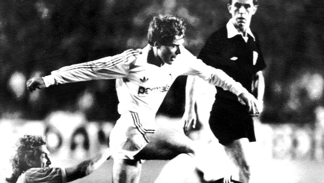 Emilio Butragueno in azione nella finale di Coppa Uefa 1986 contro il Colonia. Ap