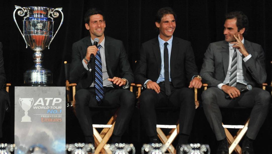 Novak Djokovic, Rafa Nadal e Roger Federer. Afp