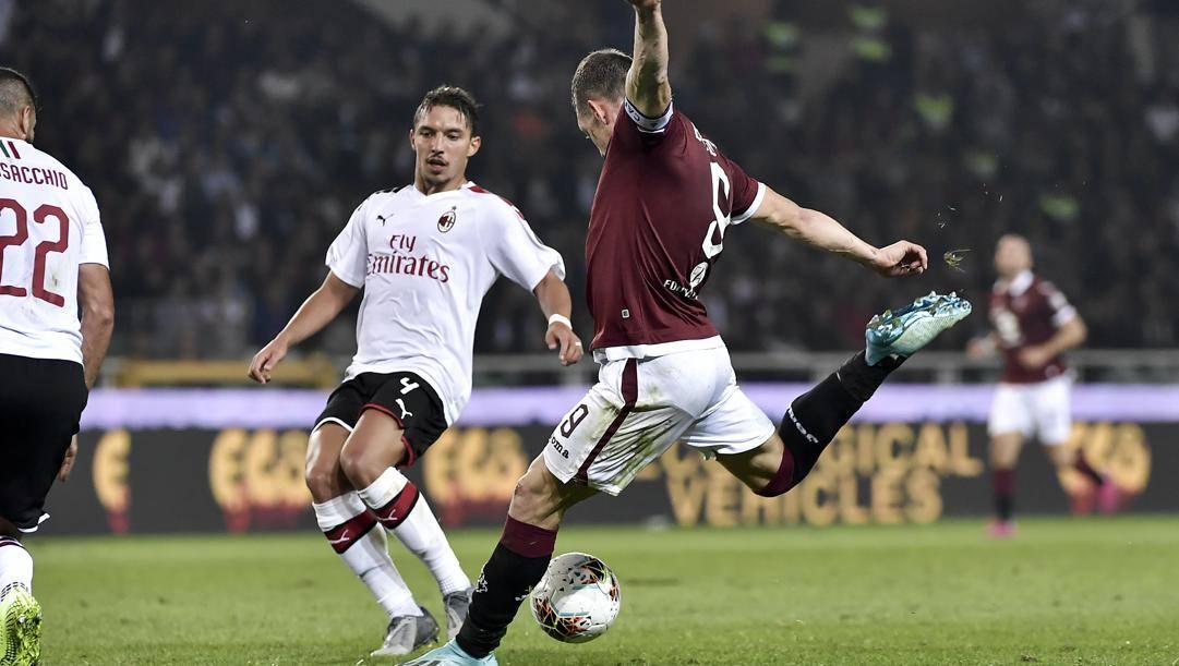 La notte più bella della stagione di Belotti: la doppietta al Milan segnata a settembre. Lapresse