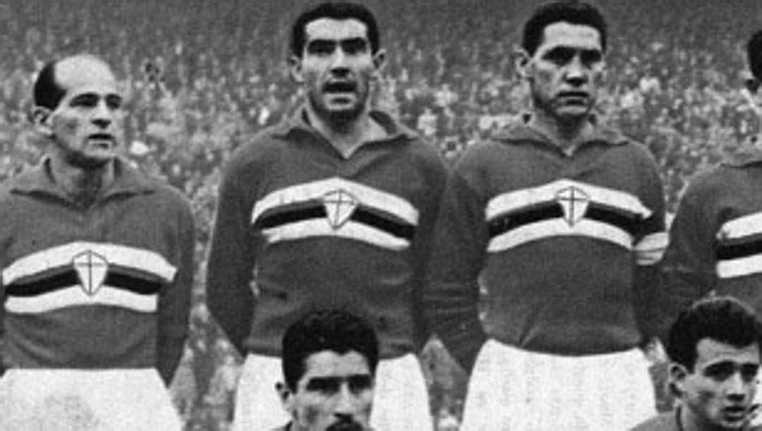 """Samp 1960-61: """"Tito"""" Cucchiaroni, Guido Vincenzi e Ernst Ocwirk: tutti e tre si ammaleranno di Sla, anche se il primo morirà in un incidente."""
