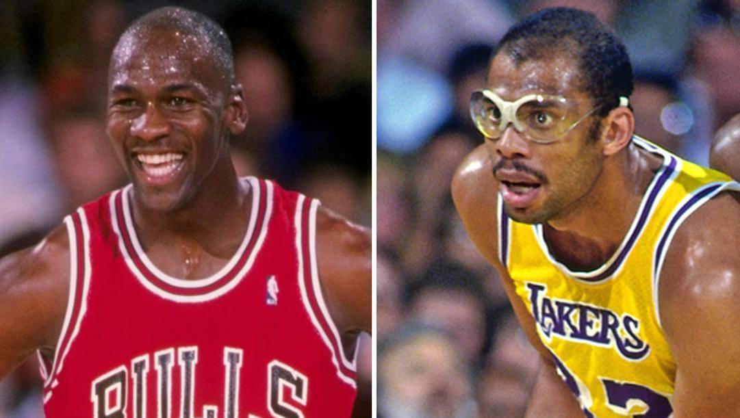 Michael Jordan  e Kareem Abdu-Jabbar: entrambi in carriera hanno vinto 6 anelli Nba