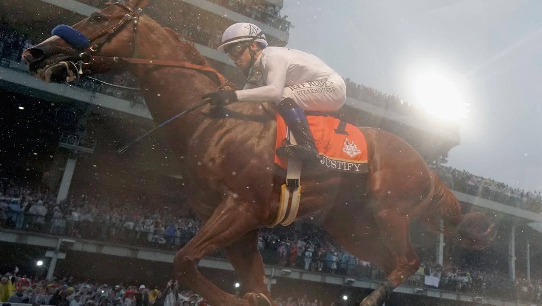 Justify taglia il traguardo al Kentucky Derby 2018. Afp