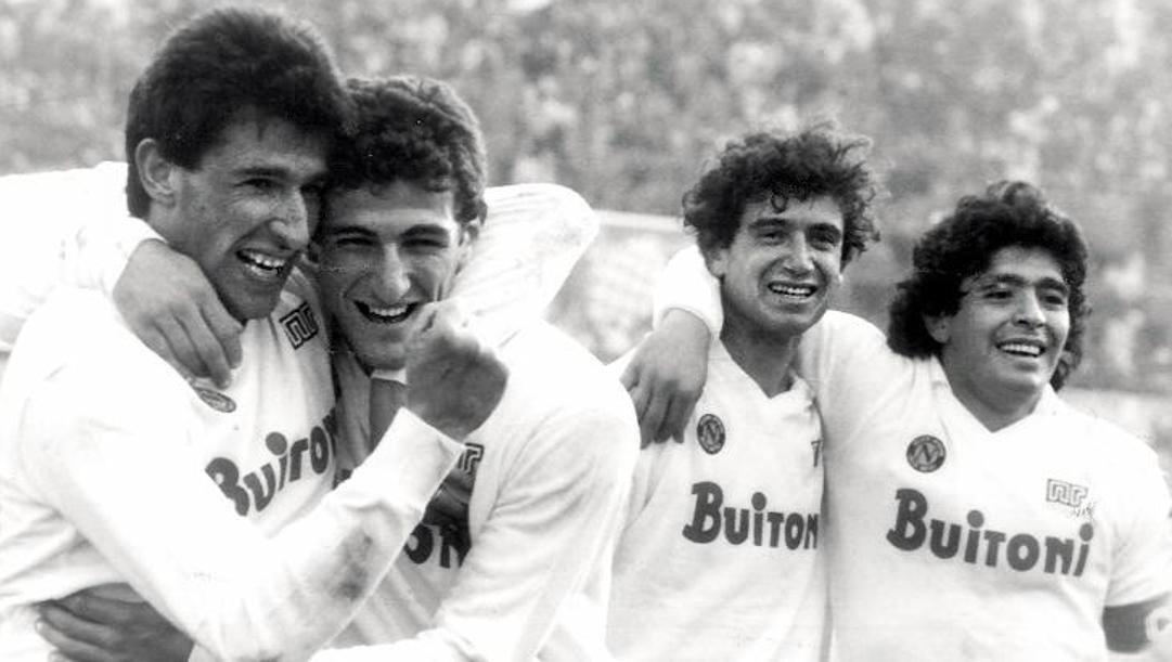 Salvatore Bagni, Ciro Ferrara, Francesco Romano e Diego Maradona nel Napoli campione d'Italia 1986-87