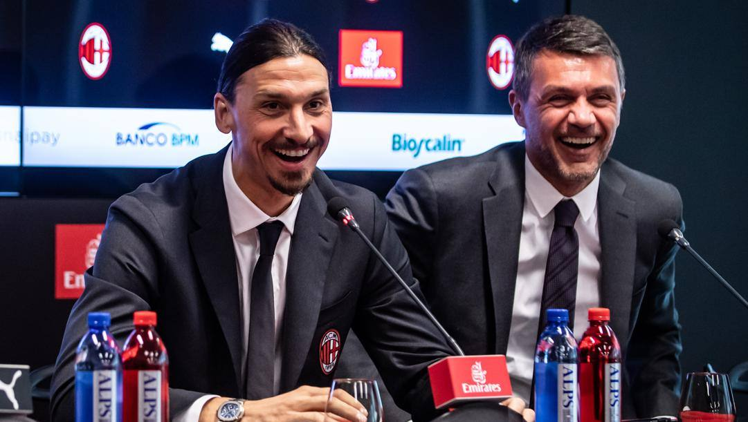 Zlatan Ibrahimovic e Paolo Maldini. LaPresse