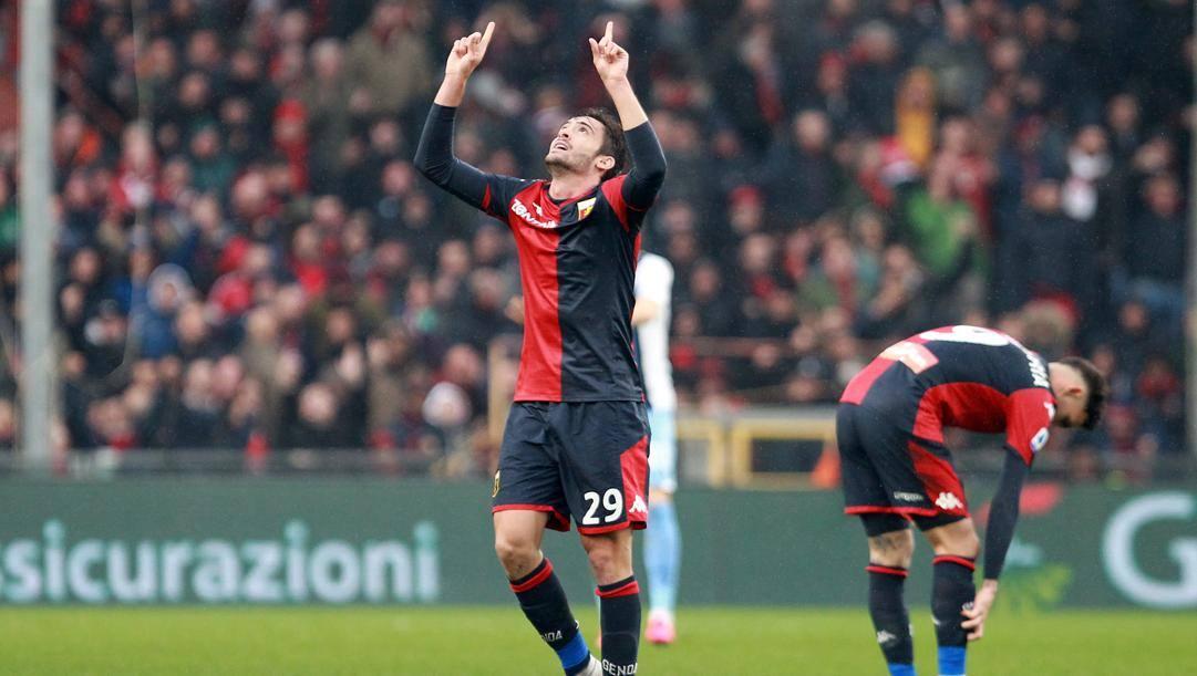 Francesco Cassata esulta dopo la rete segnata alla Lazio LAPRESSE