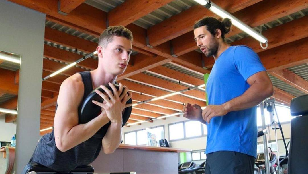 Filippo Tortu, 21 anni, si allena in palestra