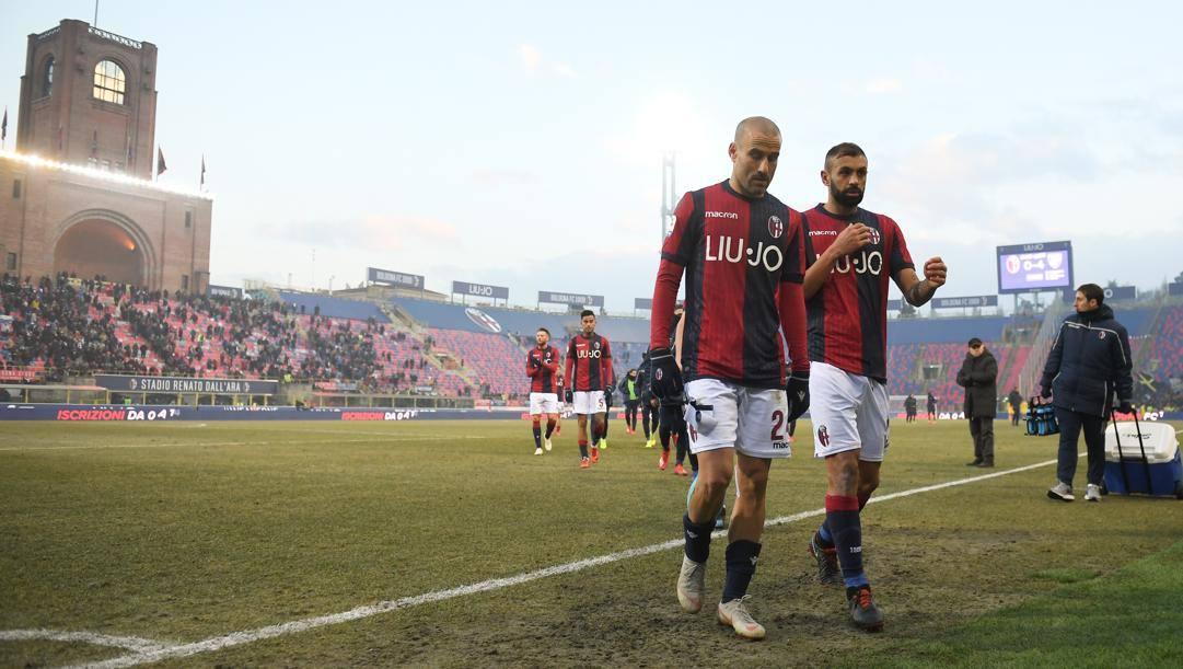 Rodrigo Palacio e Danilo, due tra i giocatori più esperti del Bologna. Lapresse