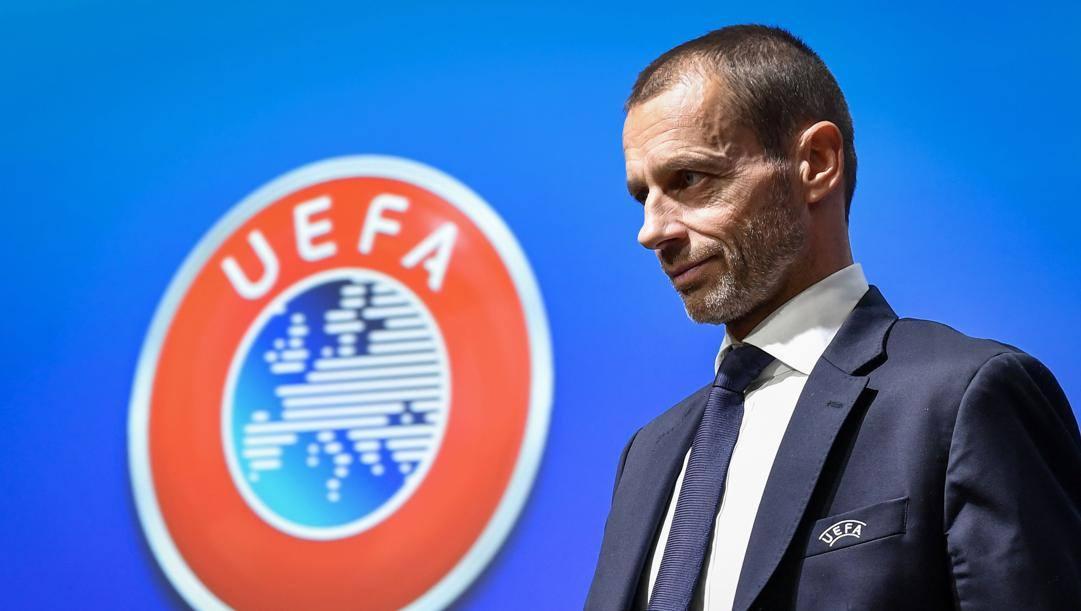 Il presidente dell'Uefa Ceferin. Afp