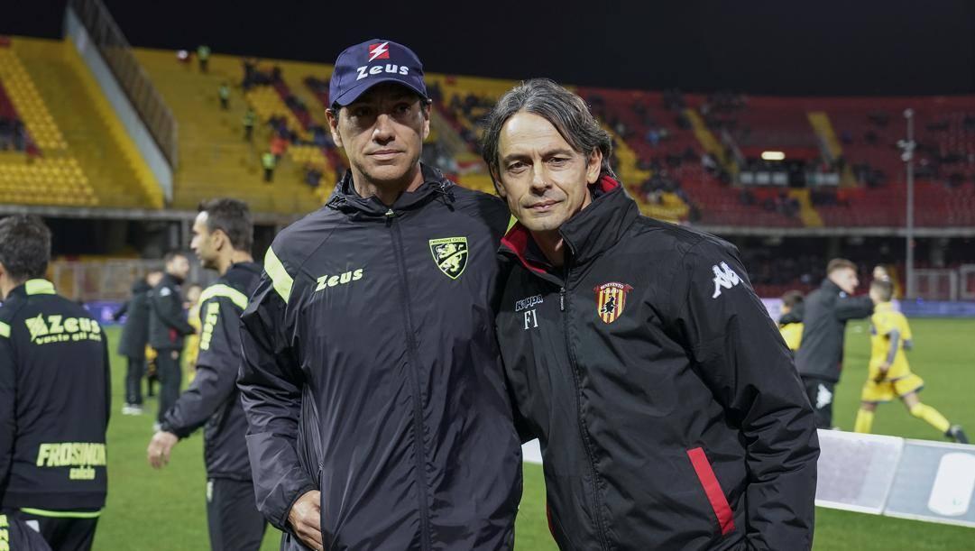 Alessandro Nesta e Filippo Inzaghi, tecnici di Frosinone e Benevento.