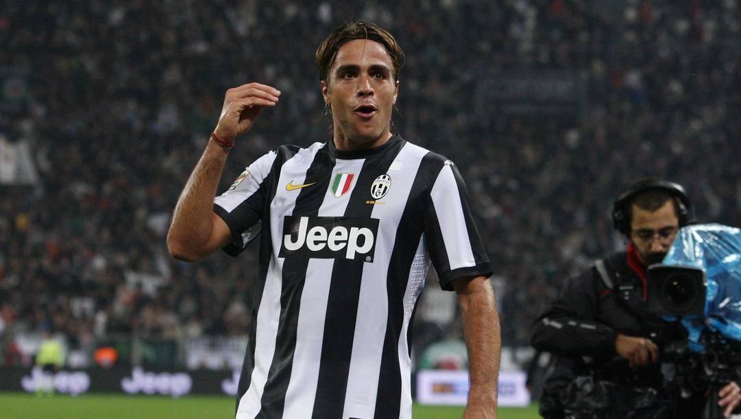 Matri e la sua classica esultanza, qui con la maglia della Juventus. Lapresse