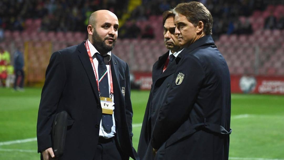 Antonio Gagliardi, capo area match analysis col c.t. Mancini e Valter Di Salvo, capo dell'area preparazione atletica.