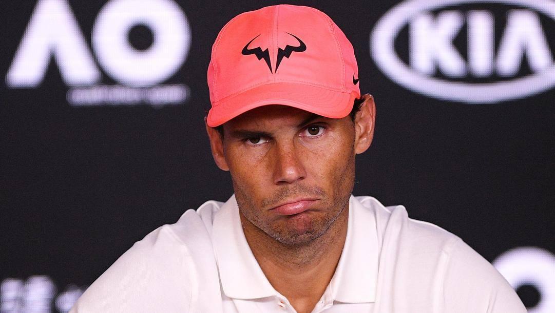 Rafa Nadal, 33 anni, contrariato in conferenza stampa. Epa