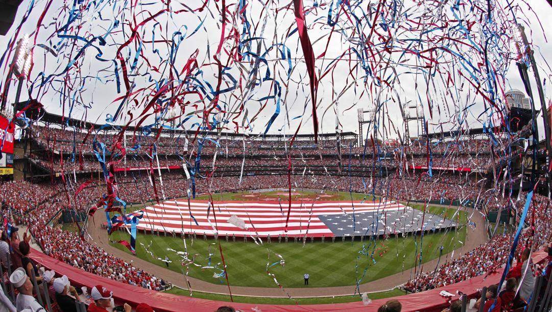 Il Busch Stadium di St. Louis durante un Opening Day. Afp