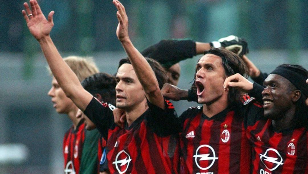 Filippo Inzaghi, Paolo Maldini e Clarence Seedorf nel 2002. Ap