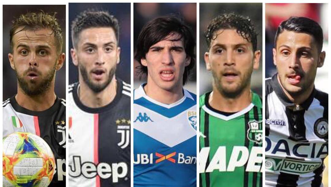 Miralem Pjanic, 30 anni, Rodrigo Bentancur, 22, Sandro Tonali, 20, Manuel Locatelli, 22, e Rolando Mandragora, 22.