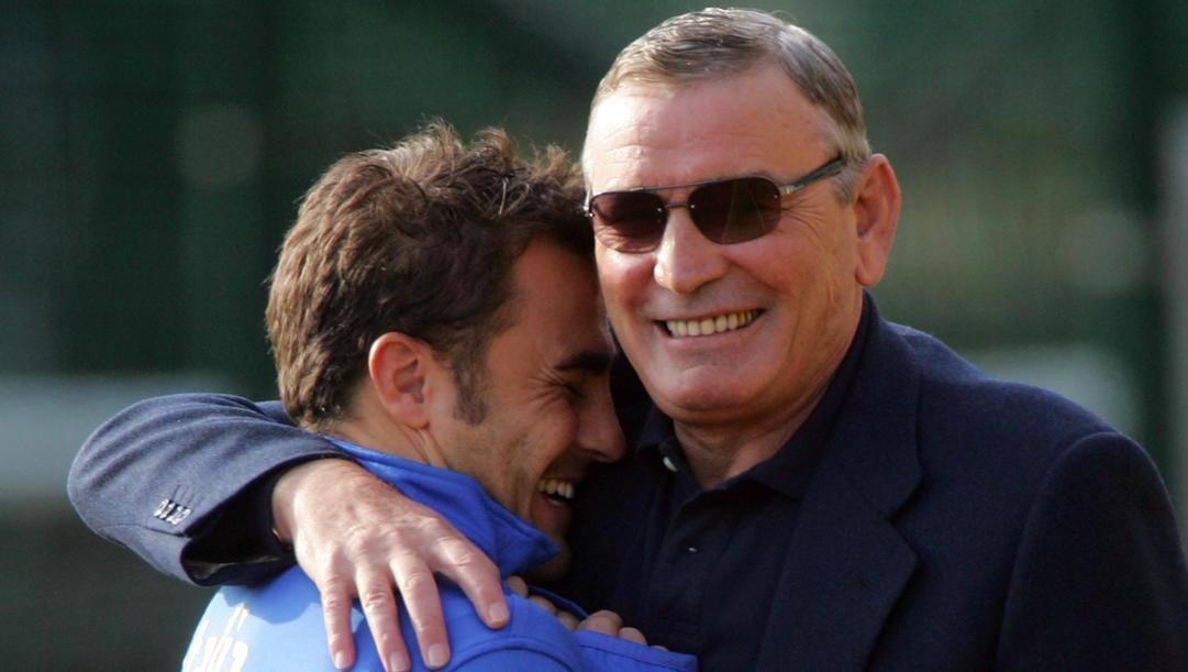 Riva in azzurro con Cannavaro. Ansa