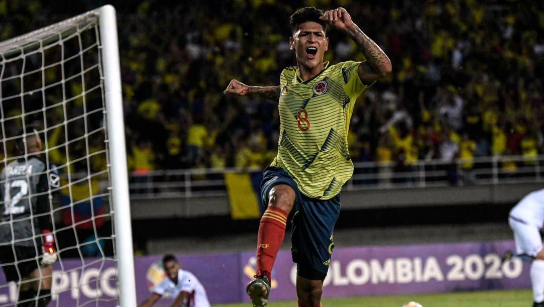 Jorge Carrascal, 21 anni, dopo il gol al Venezuela al Preolimpico. Afp