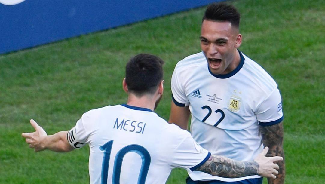 Leo Messi e Lautaro Martinez sono già coppia fissa in Nazionale. Afp
