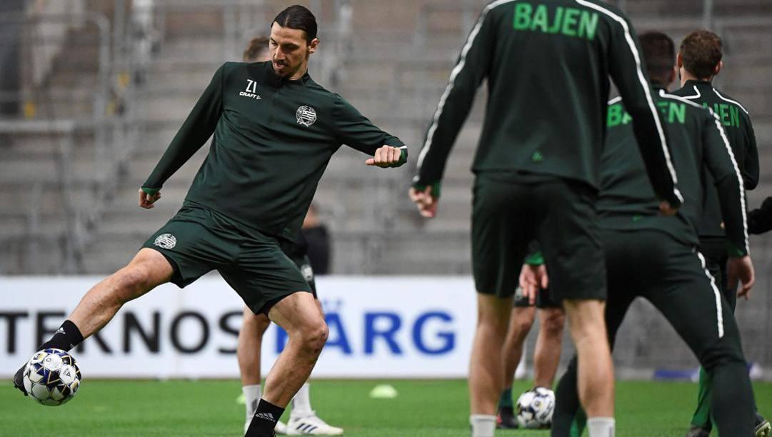 Zlatan Ibrahimovic al lavoro con l'Hammarby. Afp