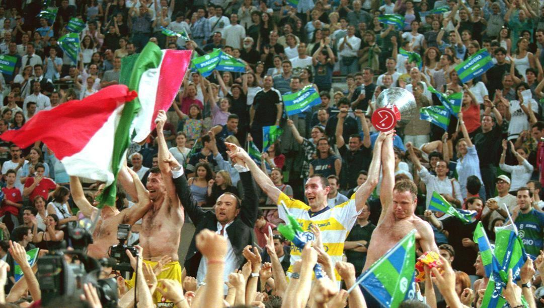 La festa dei giocatori di Roma per lo scudetto. Tarantini