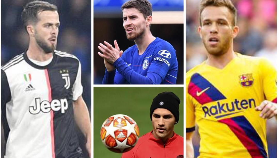 AI lati Miralem Pjanic (Juve, 30 anni) e Arthur (Barcellona, 23). Al centro Jorginho (Chelsea, 28) e Paredes (Psg, 25)