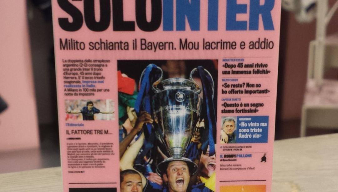 La prima pagina della Gazzetta il 23 maggio 2010