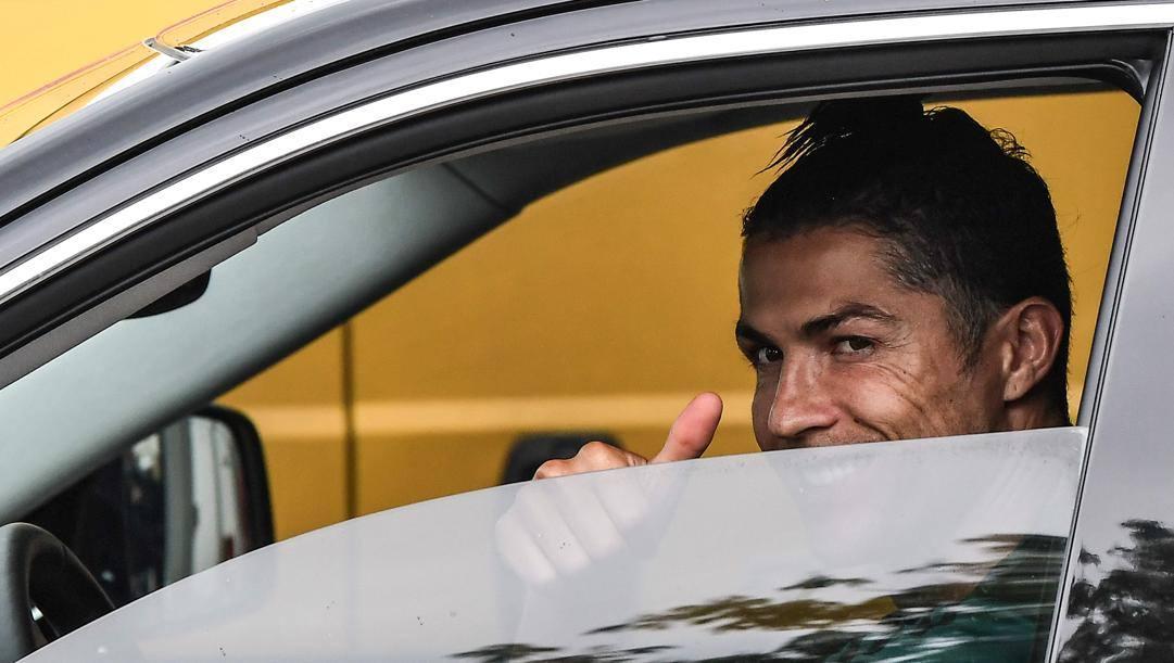Cristiano Ronaldo è tornato alla Continassa per allenarsi. Afp