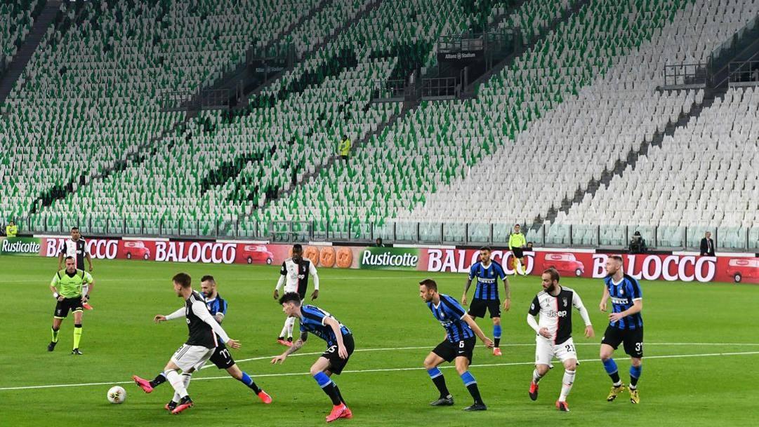 Juventus-Inter nel deserto, lo scorso 8 marzo: eravamo rimasti qui. Afp