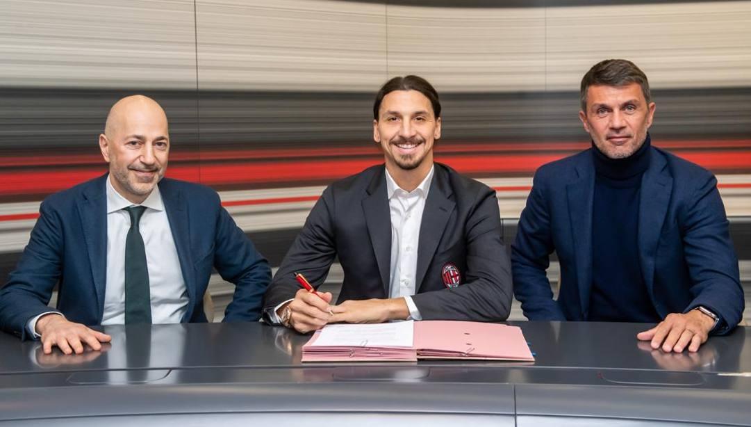 Ivan Gazidis, Zlatan Ibrahimovic, Paolo Maldini. Lapresse