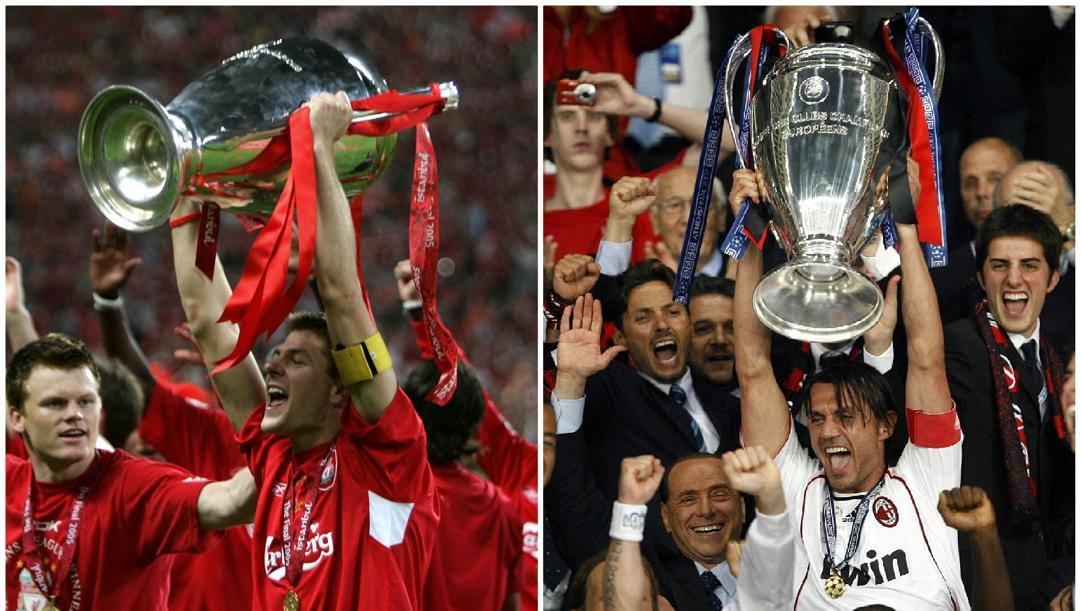 Steven Gerrard e Paolo Maldini alzano le Champions del 2005 e del 2007.