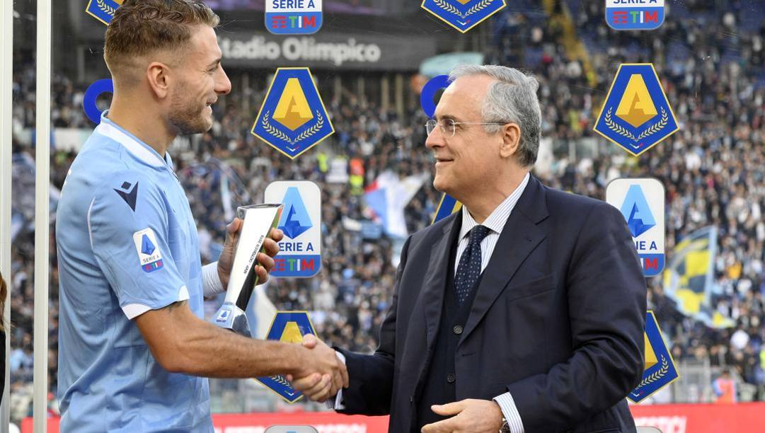Ciro Immobile col presidente Claudio Lotito. Getty Images