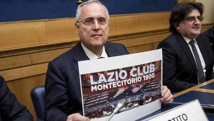Claudio Lotito alla presentazione del Lazio Club Montecitorio a gennaio. Lapresse