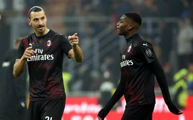 Zlatan Ibrahimovic, 38, e Rafael Leao, 20. Epa
