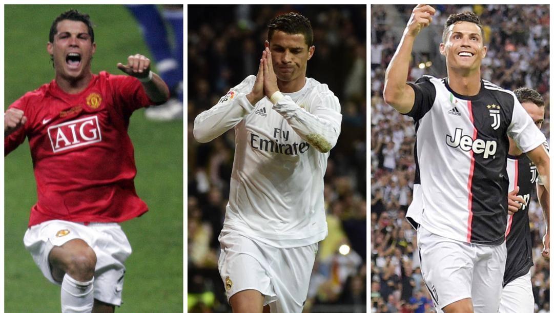 Cristiano Ronaldo nelle tre 'vite', con United, Real e Juve