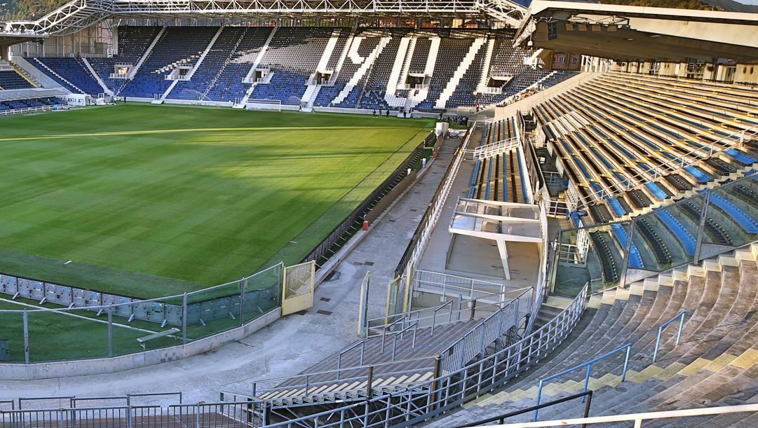 La tribuna Ubi che andrà a fondersi con la Curva Pisani, totalmente rifatta la scorsa estate.
