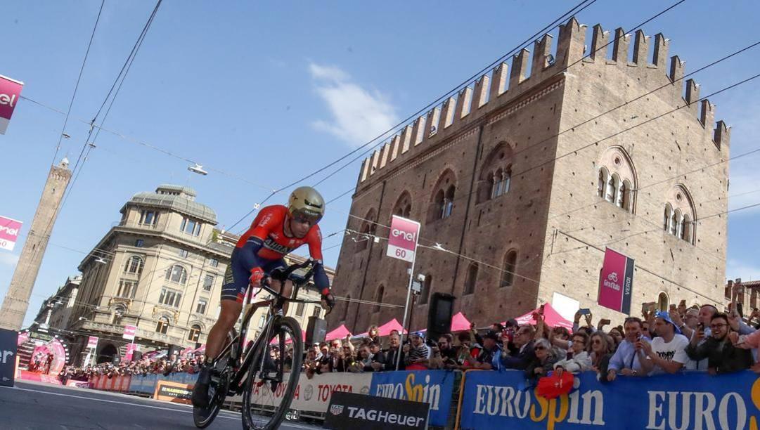 Vincenzo Nibali, 35 anni, durante la tappa di Bologna del Giro 2019. Bettini