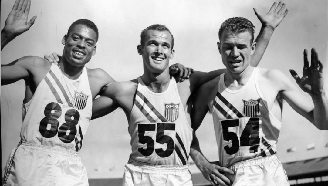Il podio dei 200 a Melbourne '56: da sin, Stanfield, Morrow e Baker. Ap