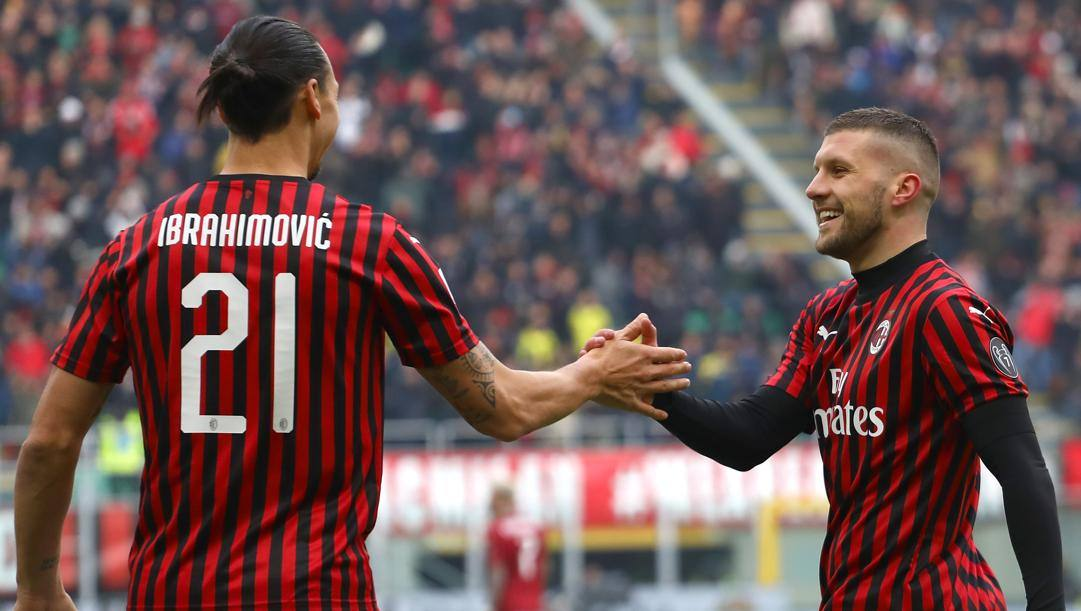 Zlatan Ibrahimovic e Ante Rebic. Getty