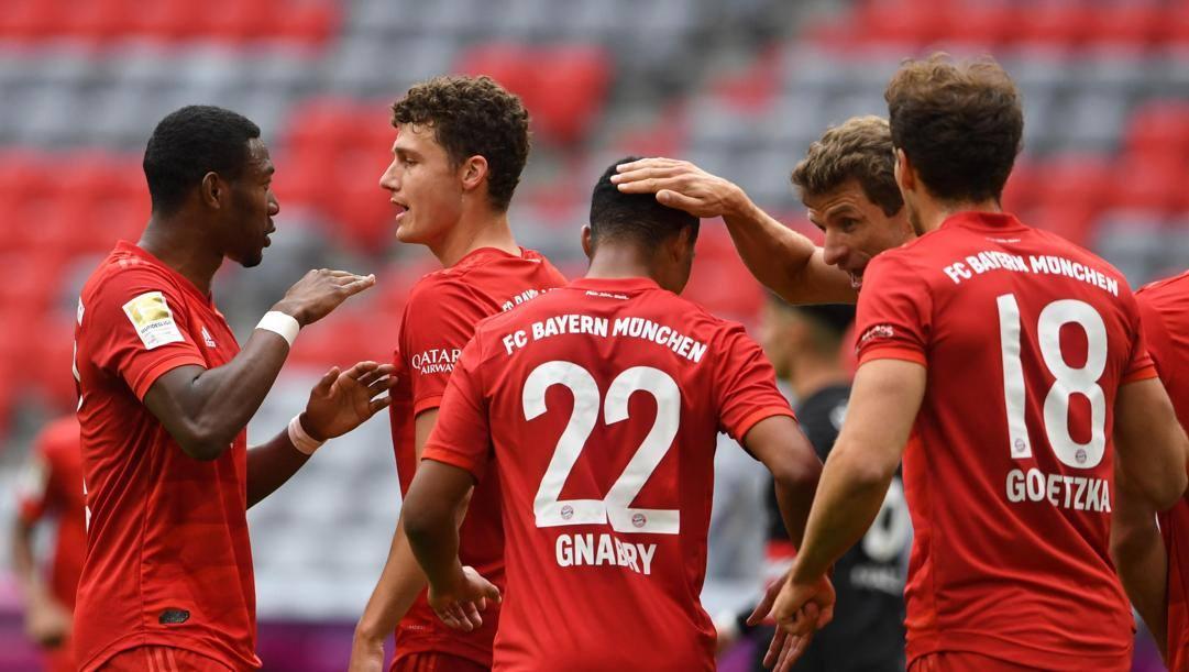 Il Bayern festeggia un gol. Epa