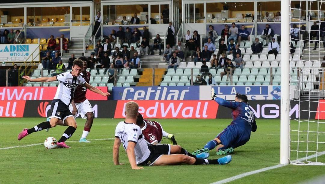 Il gol di Inglese in Parma-Torino dello scorso 29 settembre. Ansa