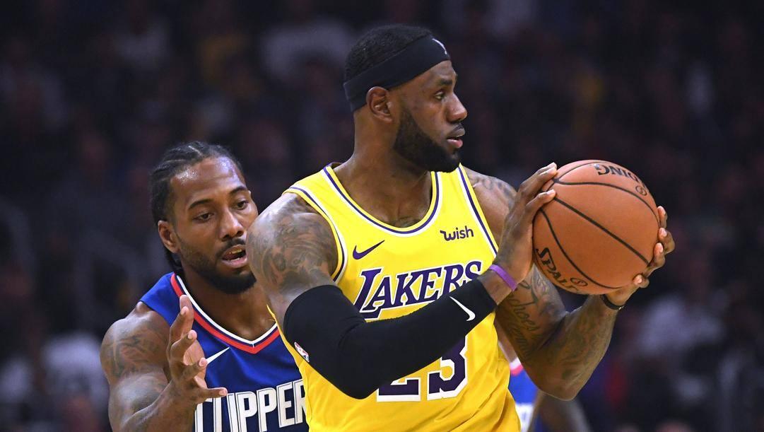 Kawhi Leonard, 28 anni, e LeBron James, 35. Afp