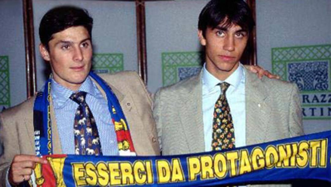 Milano, 5 giugno 1995. Ecco la presentazione dei due argentini dell'Inter Javier Zanetti e Sebastian Rambert.