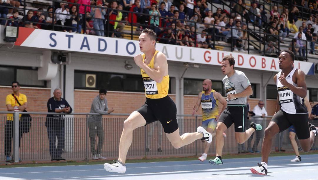 Filippo Tortu in azione l'anno scorso a Rieti. Aldo Liverani