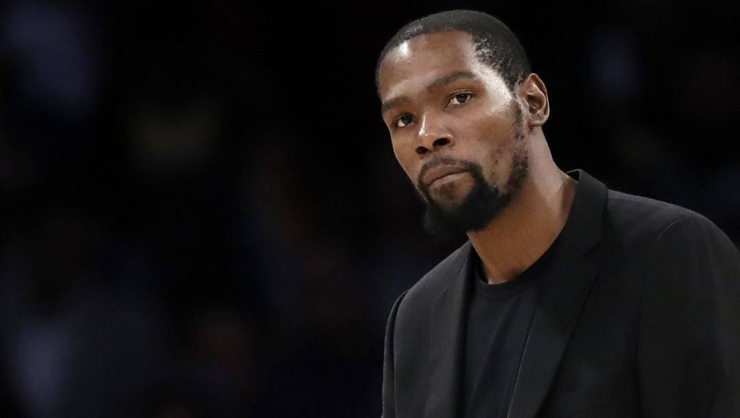 Kevin Durant, 31 anni, in carriera ha vinto due titoli da mvp delle Finals coi Warriors. AP