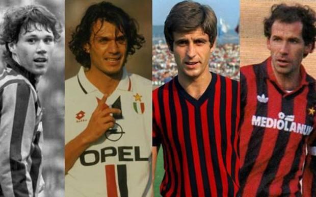 Da sinistra, Marco Van Basten, Paolo Maldini, Gianni Rivera e Franco Baresi