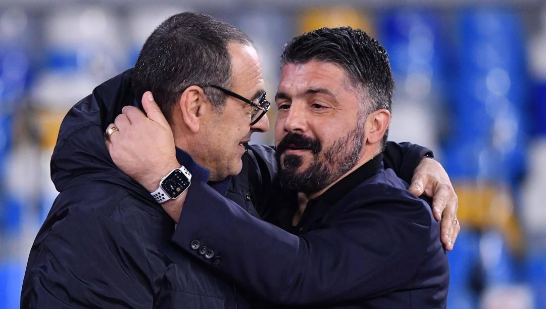 Maurizio Sarri e Gennaro Gattuso. (Afp)