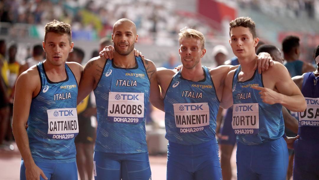 Cattaneo, Jacobs, Manenti, Tortu: la 4x100 ai Mondiali di Doha COLOMBO