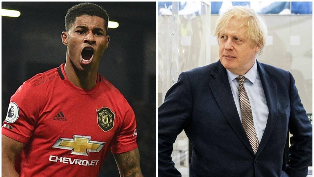 Marcus Rashford e Boris Johnson.