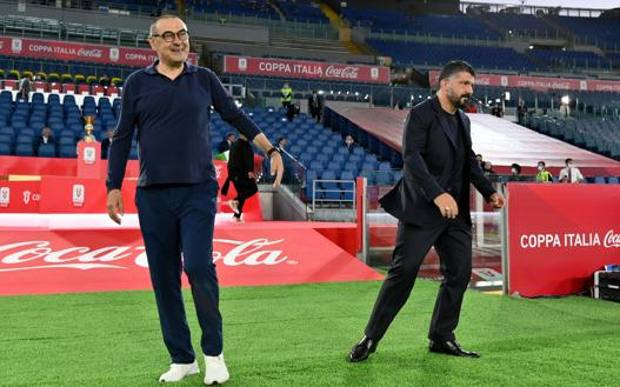 Maurizio Sarri, 61 anni, e Rino Gattuso, 42, all'Olimpico mercoledì sera per Napoli-Juve GETTY