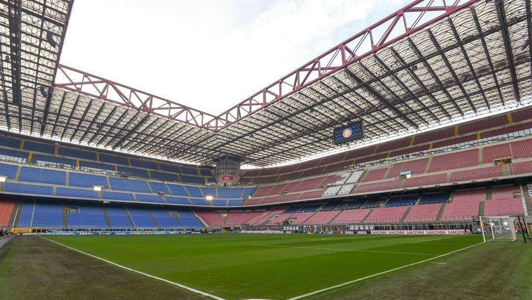 Lo stadio di San Siro senza pubblico. LaPresse